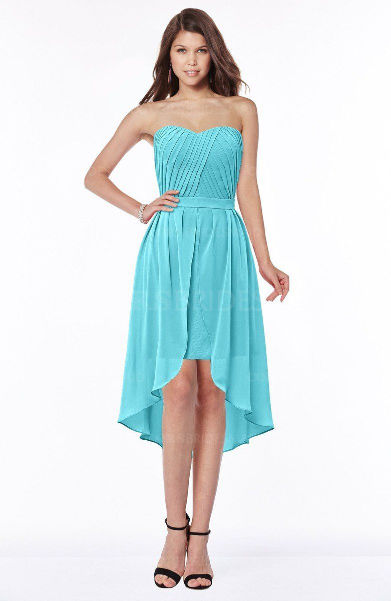 Turquoise Gorgeous A-line Strapless Half Backless Ruching Bridesmaid ...
