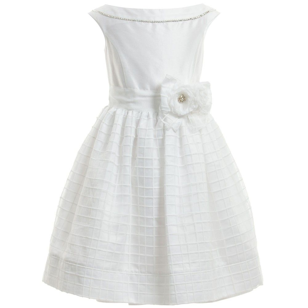 Monnalisa Chic girls beautiful sleeveless satin and organza dress with a fitted satin bodice that has a round neckline with a diamanté necklace embellishment that goes all the way around. The top half is made in a white satin, with an attached white grosgrain waist sash and removable floral ribbon brooch with diamanté centre. The full and flared skirt is made from a checked organza fabric and fully lined in lovely soft cotton with a concealed zip at the back for ease of dressing.<br /> <ul…