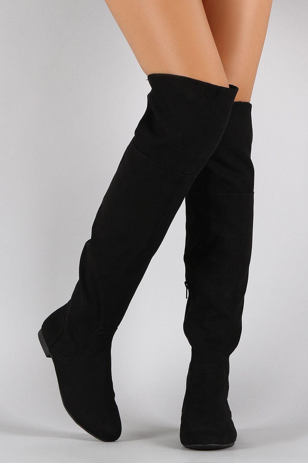 d942707487f Bamboo Faux Suede Zipper Collar Knee High Boot