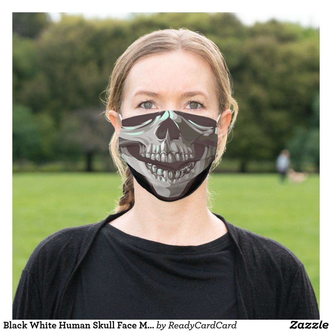 Black White Human Skull Face Mouth Teeth Skeleton Cloth