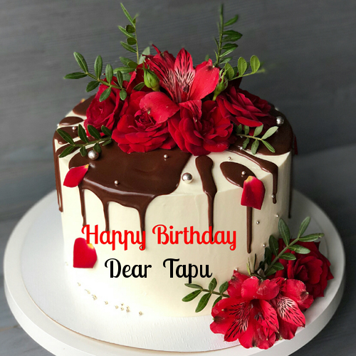 Enjoyable Flower Birthday Cake With Chocolate Sauce Topping Happy Birthday Birthday Cards Printable Opercafe Filternl