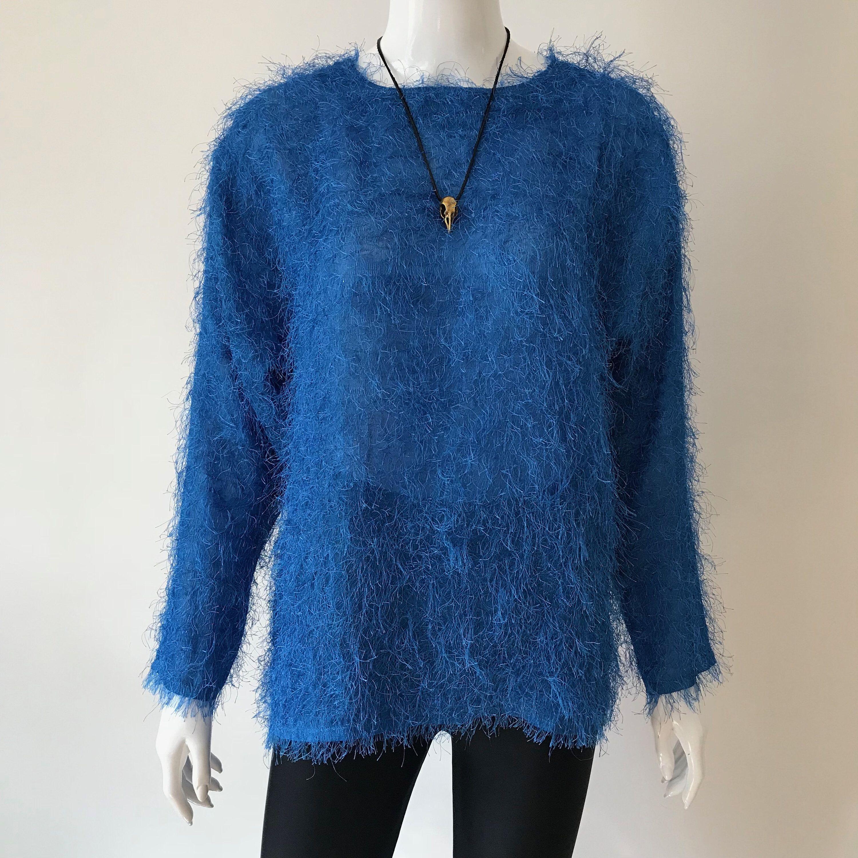 FUZZY Blue Striped Knit Vintage 1980/'s NOS Women/'s Sweater Vest M