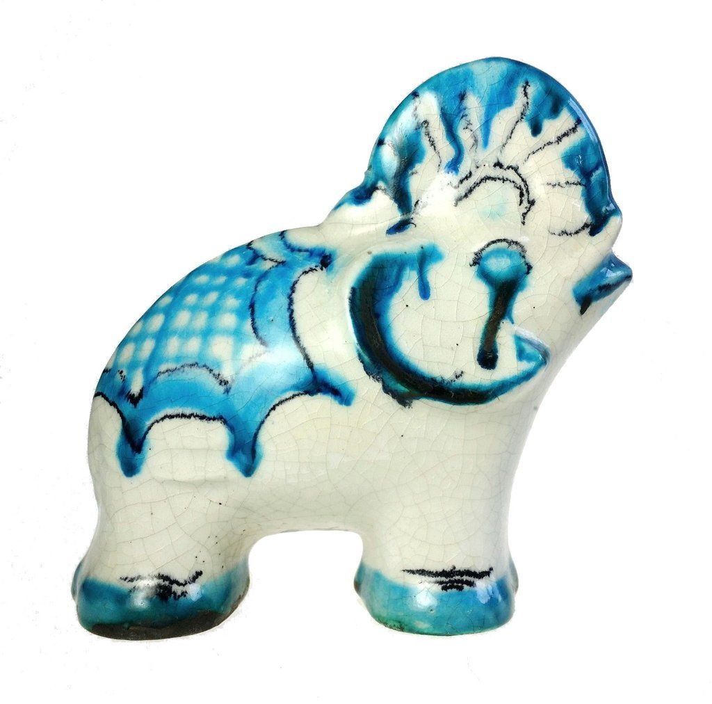 Vintage German Stoneware Blue And White Elephant Coin Bank Item Still