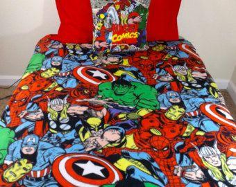 Marvel Avengers Bedding Set  Geeky Comic, Iron Man Thor Captain America  Wolverine Spider