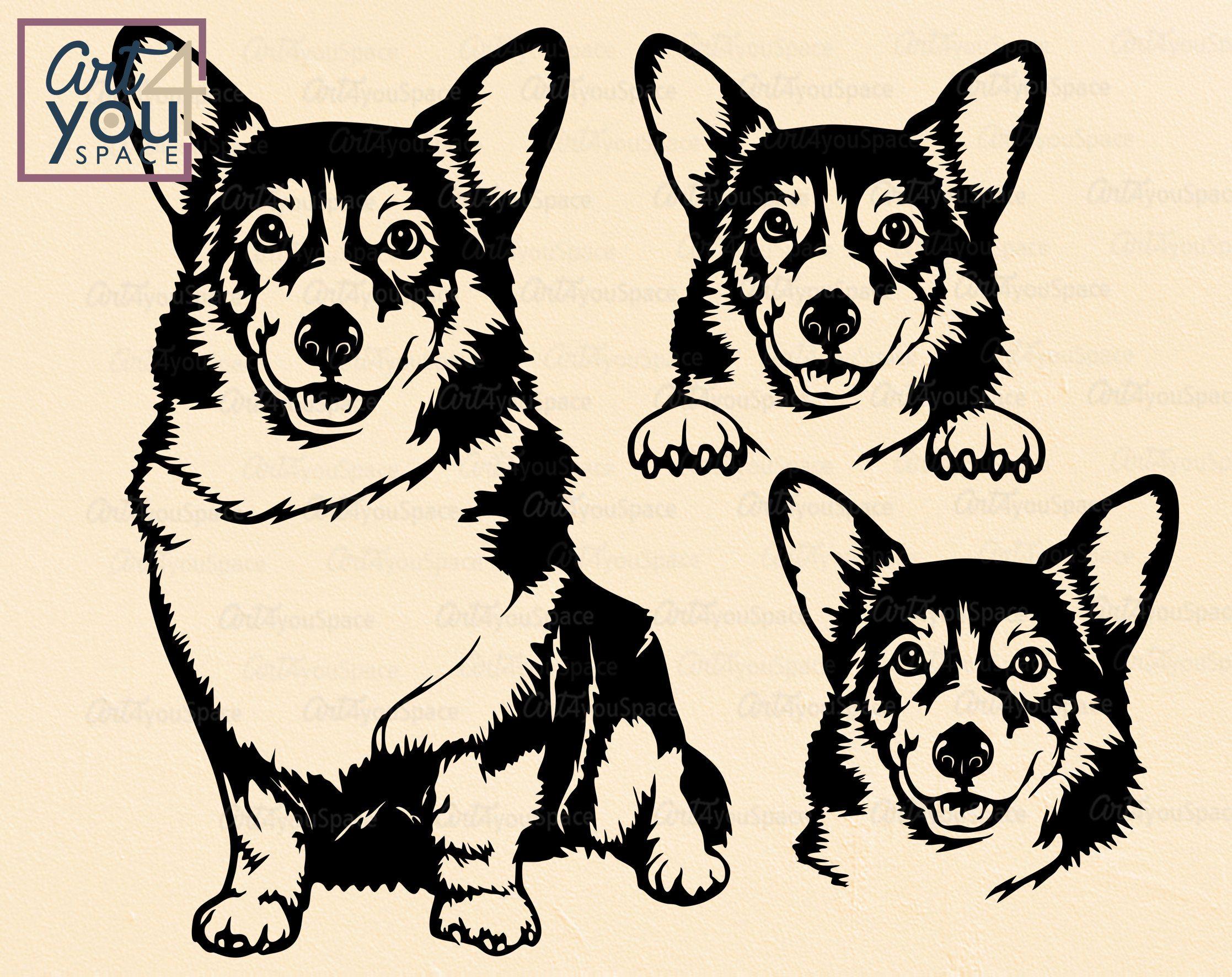 Download Corgi svg dog svg Cute Corgi dxf face head body peeking ...