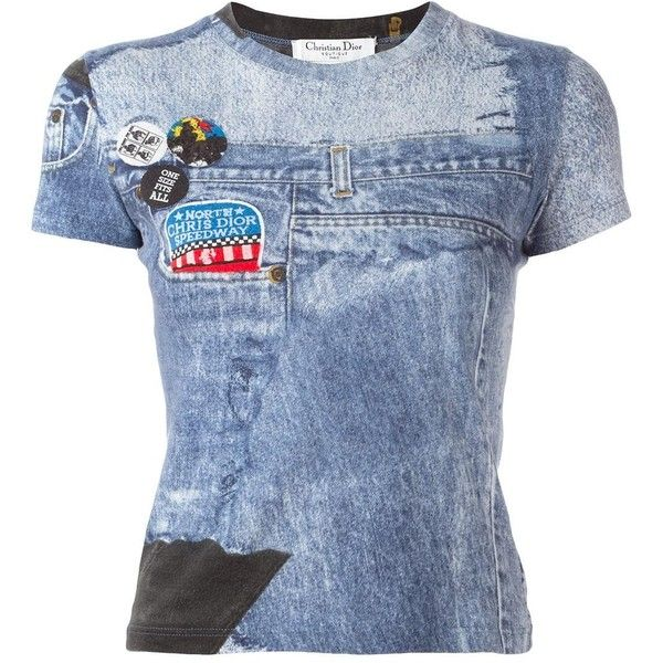 Christian Dior Vintage Denim Print T Shirt 448 Liked On Polyvore Featuring Tops T Shirts Blue Print T S Denim Tees Christian Dior Vintage Denim T Shirt