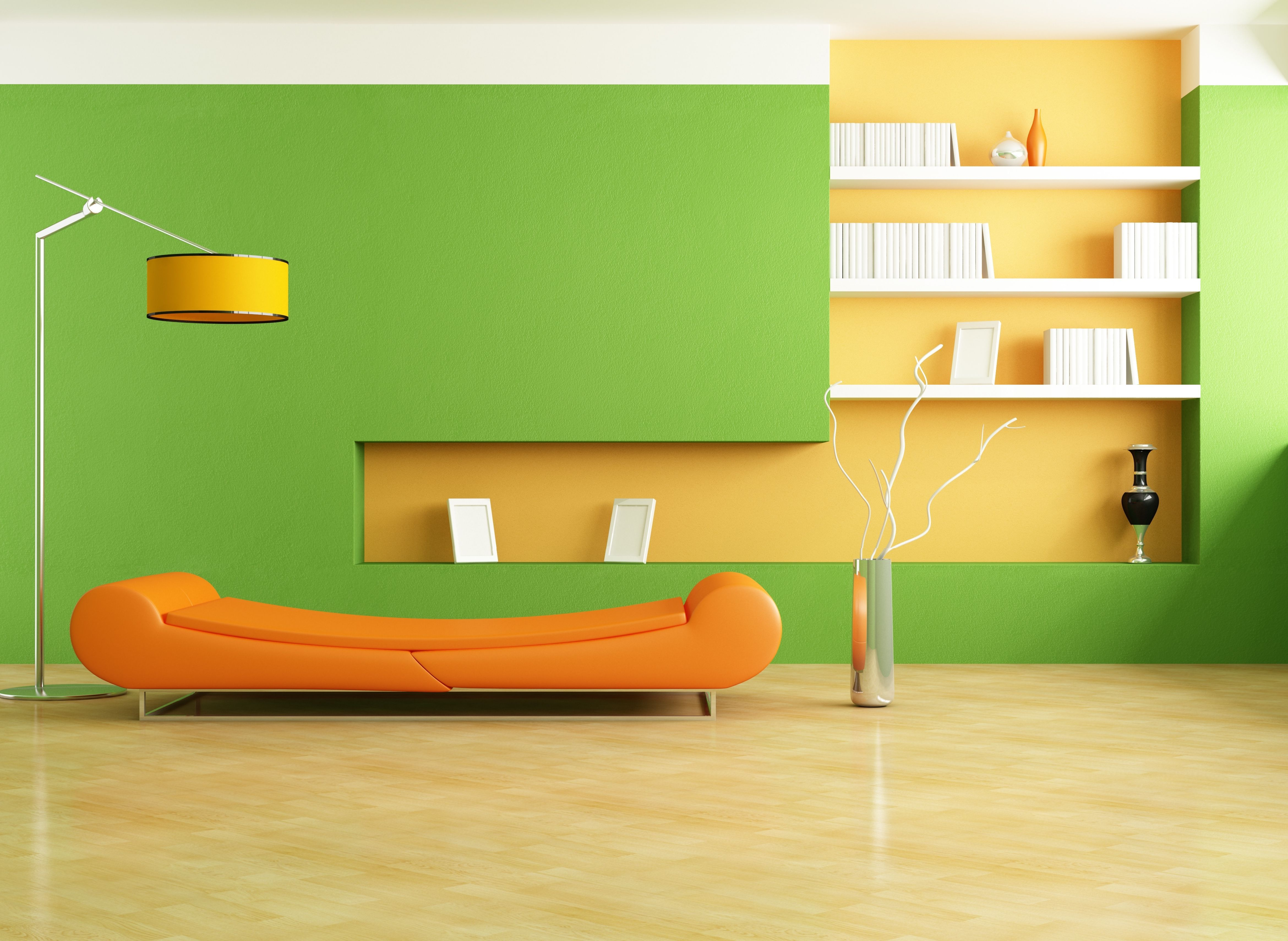 exquisite-long-flat-orange-couch-for-living-room-in-green-color ...