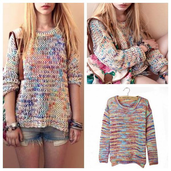 Ladies Long Sleeve Crew Neck Rainbow Jumper Sweater Pullover Knit Knitwear Tops