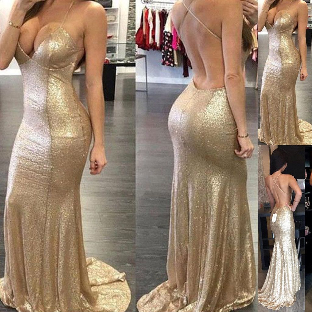 Sexy backless halter mermaid sequin bridesmaid dress cheap long prom