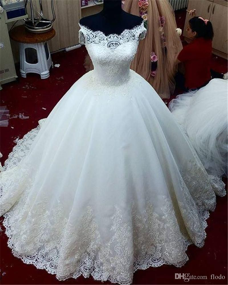 Beaded Lace Applique Ball Gown Sheer Wedding Dresses 2017 Real ...