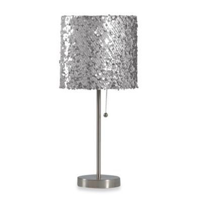 Silver Sequin Table Lamp With Cfl Bulb Lamp Sequin Table Silver Table Lamps