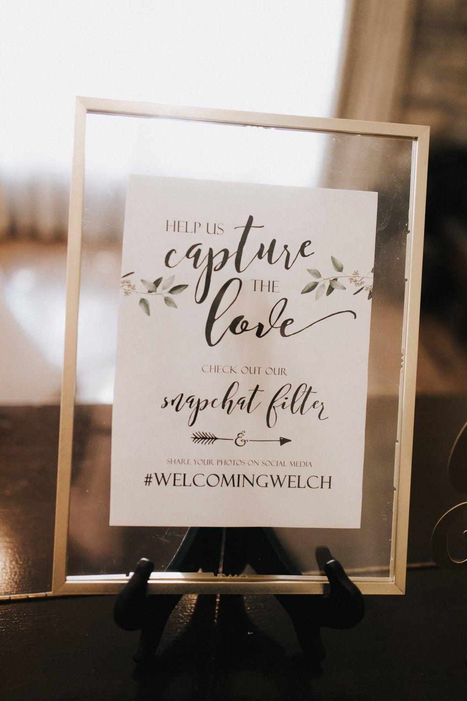 Snapchat hashtag wedding Instagram sign easy simple