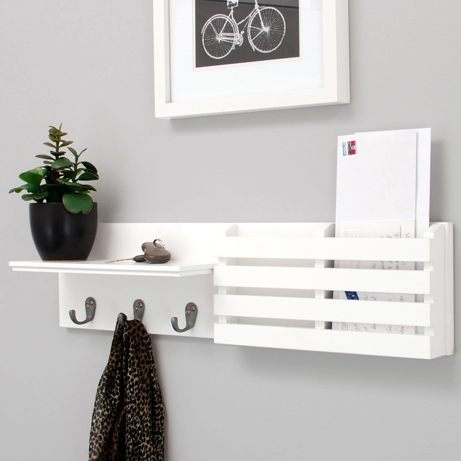 Found It At Allmodern Sydney Wall Shelf And Mail Holder With 3 Metal Hooks