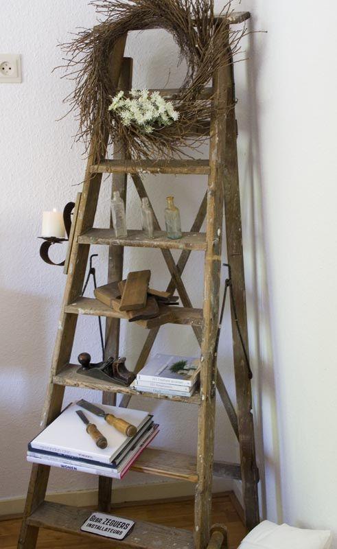 Rustic Ladder Decor Old Wood Ladder Vintage Ladder