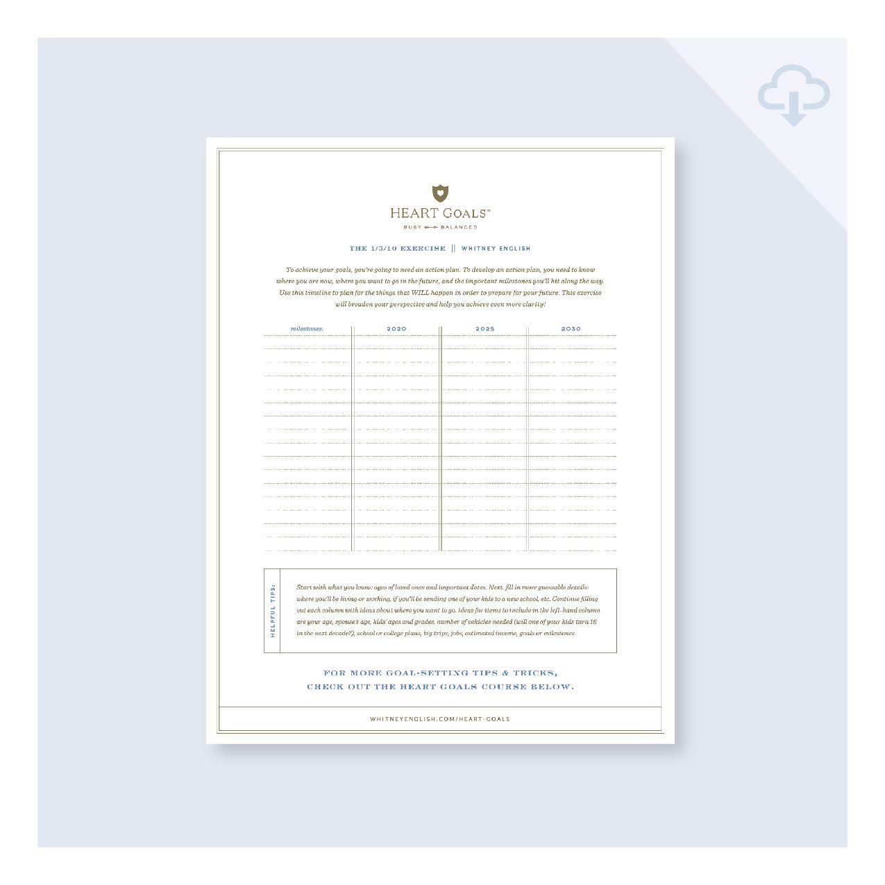 Free Heart Goals Worksheet