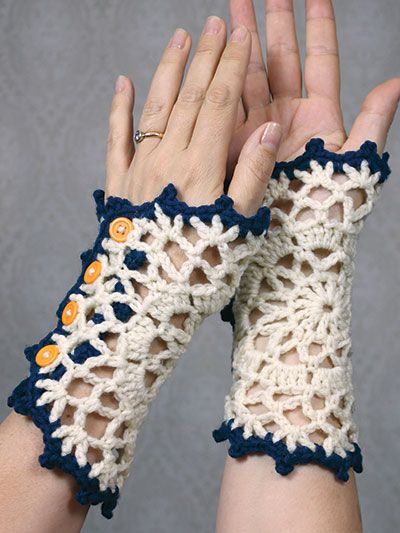 Free Crochet Pattern Download These Doily Wristlets Designed By
