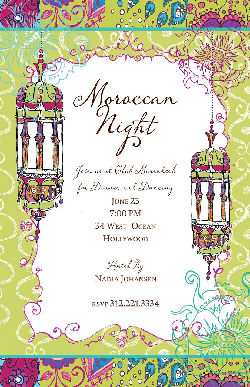 Moroccan Nights Invitation A Moroccan theme is a great twist on