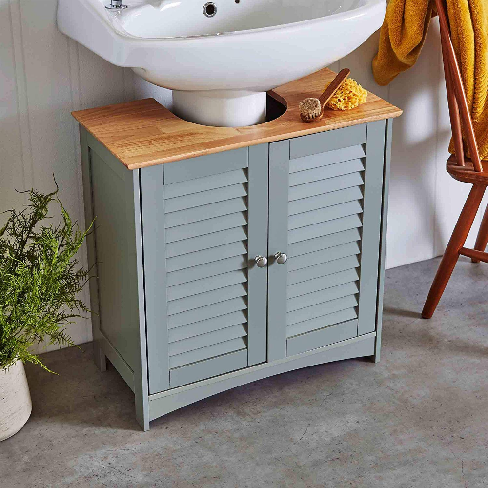 Vonhaus Under Sink Cabinet Solid Wood Top Shutter Style Cupboard Storage Unit With Double Doors And 2 In Modern Shelving Bathroom Decor Modern Grey Bedroom