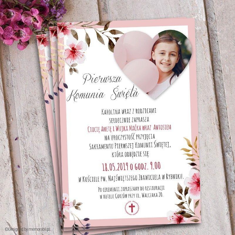 Ramka Rozowa Z Kwiatami Zaproszenie Na Komunie First Communion Communion Frame
