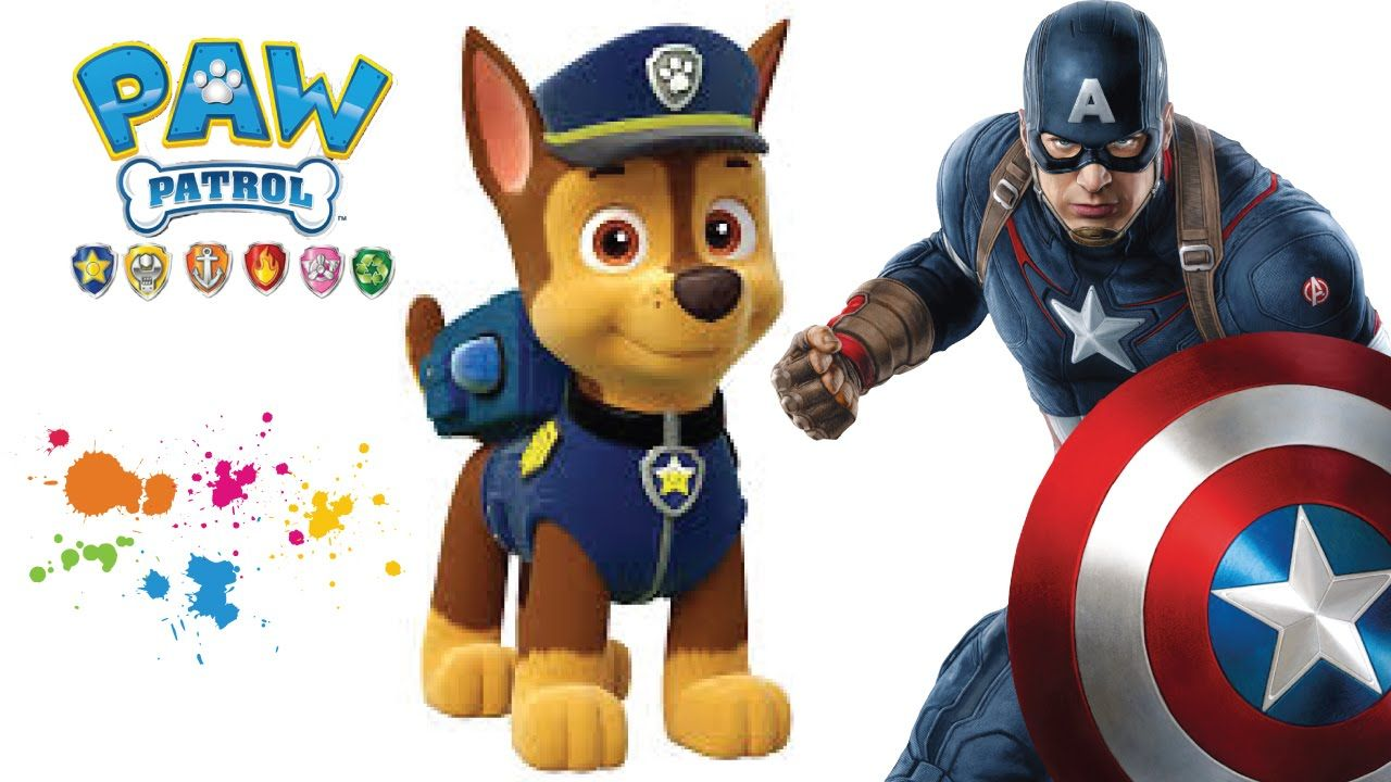 Paw Patrol Zentrale Ausmalbilder : Colorindo Patrulha Canina Chase Paw Patrol Chase Captain America