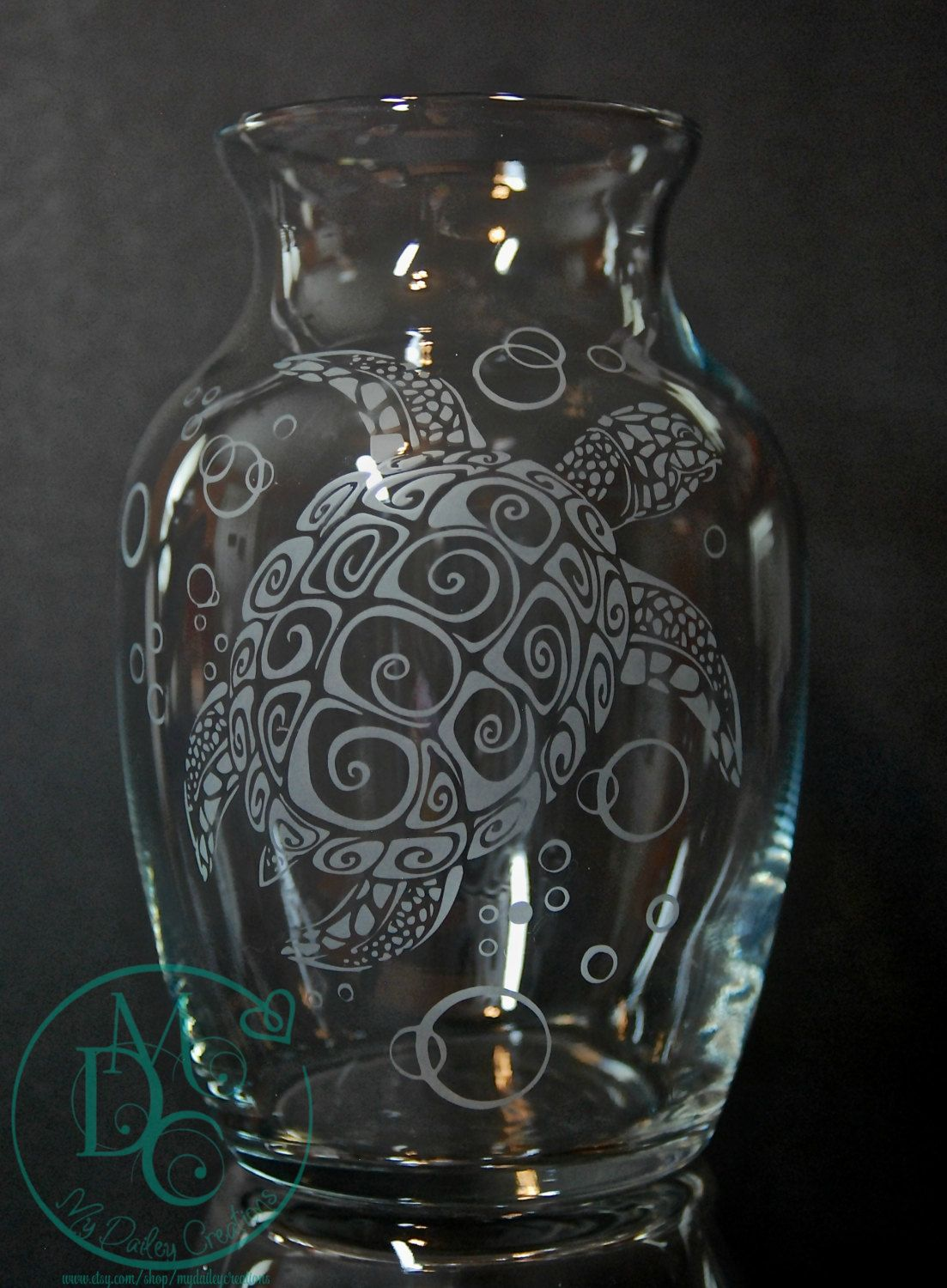 Glass Etched Sea Turtle Vase Sandblasted Sand Carved Glass Art Glass Etching Beach Glass Engraving Glass Etching Glass Art