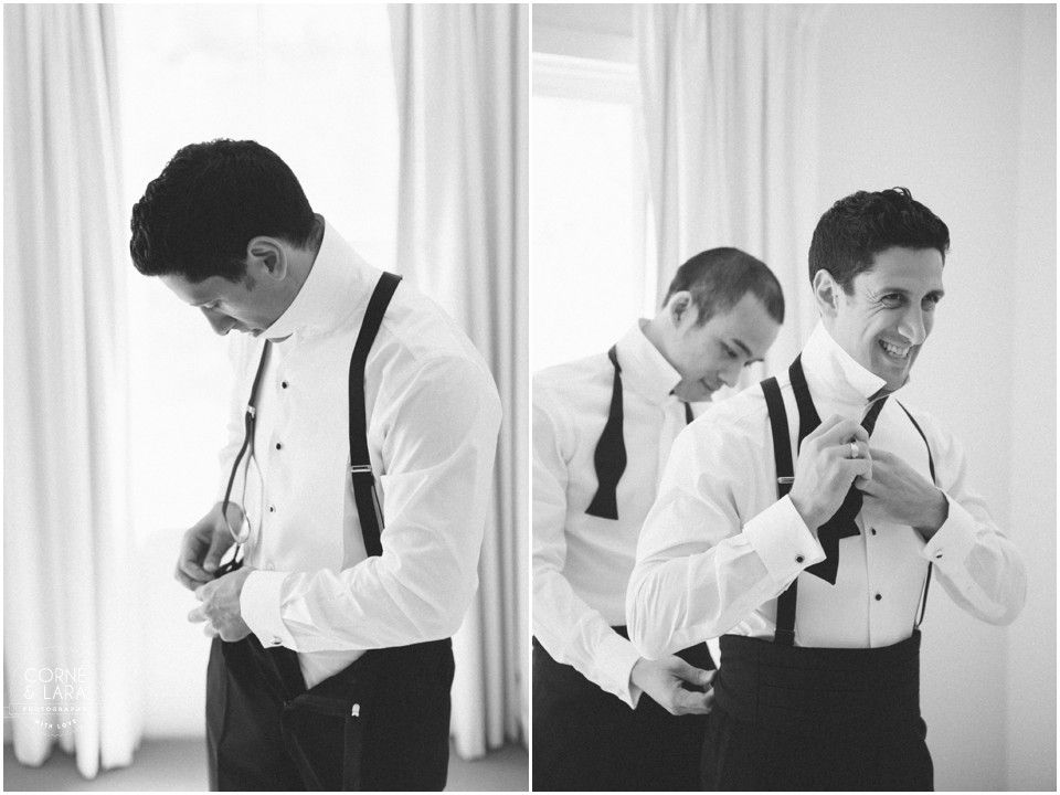 george and alexia  groom preparation