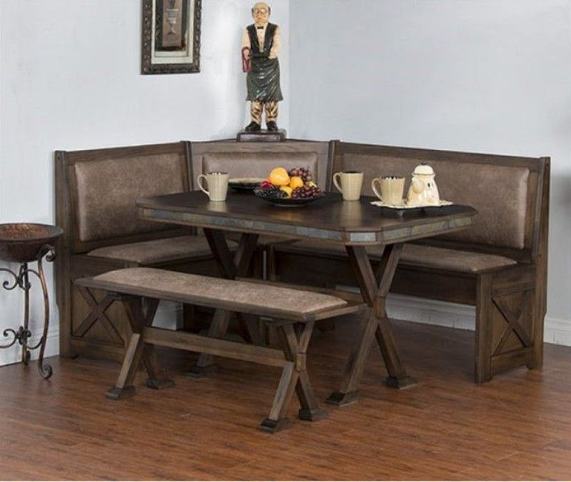 Sunny Designs 0222ac 4pc 4 Pc Savannah Wire Brushed Walnut Finish Solid Wood Breakfast Nook Dining Table Set Breakfast Nook Set Breakfast Nook Furniture Breakfast Nook With Storage