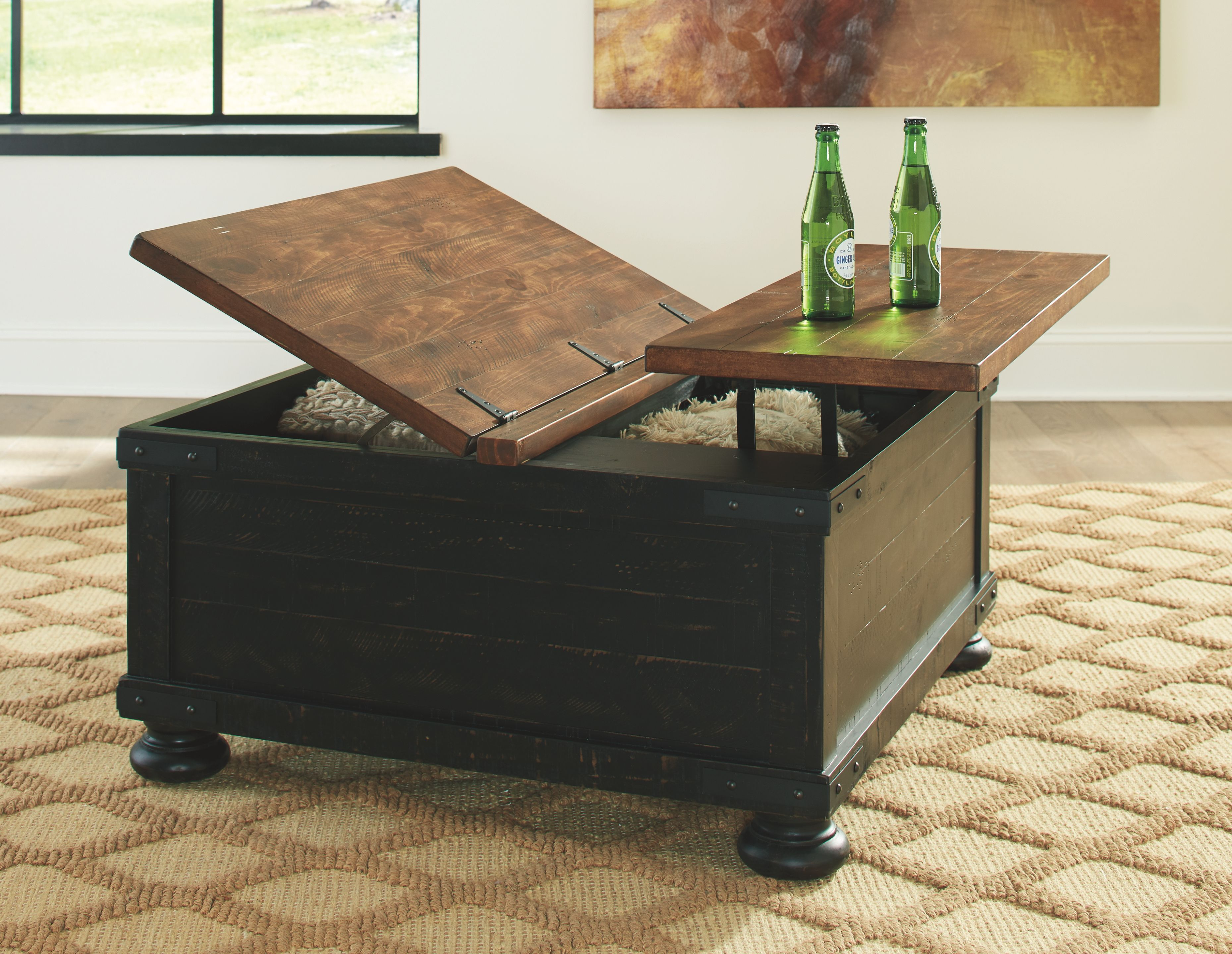 Valebeck Black Brown Lift Top Cocktail Table In 2021 Coffee Table Lift Top Coffee Table Coffee Table Square Black and brown coffee table