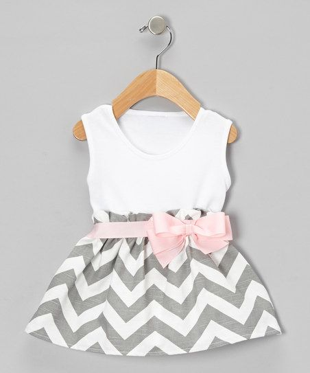 Gray Zigzag Bow Dress - Infant & Toddler