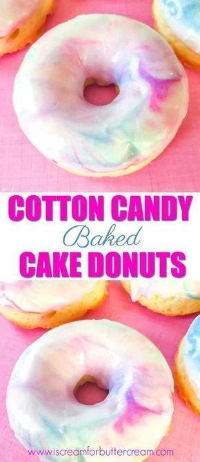 Cotton Candy Baked Cake Donuts #donutcake