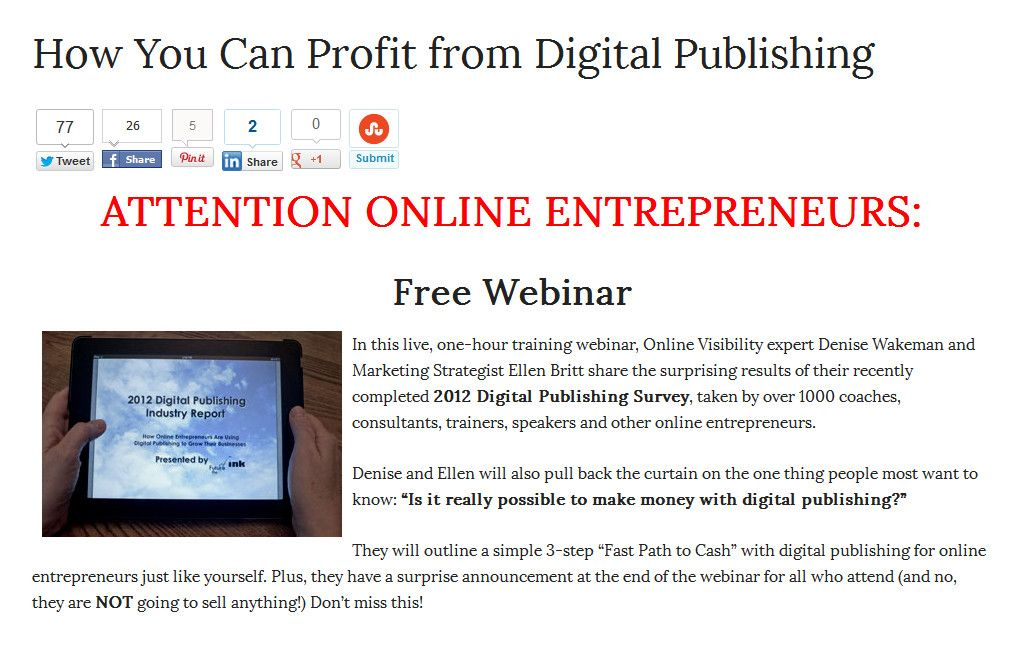 Live, free, live, one-hour training webinar, Online Visibility - training report