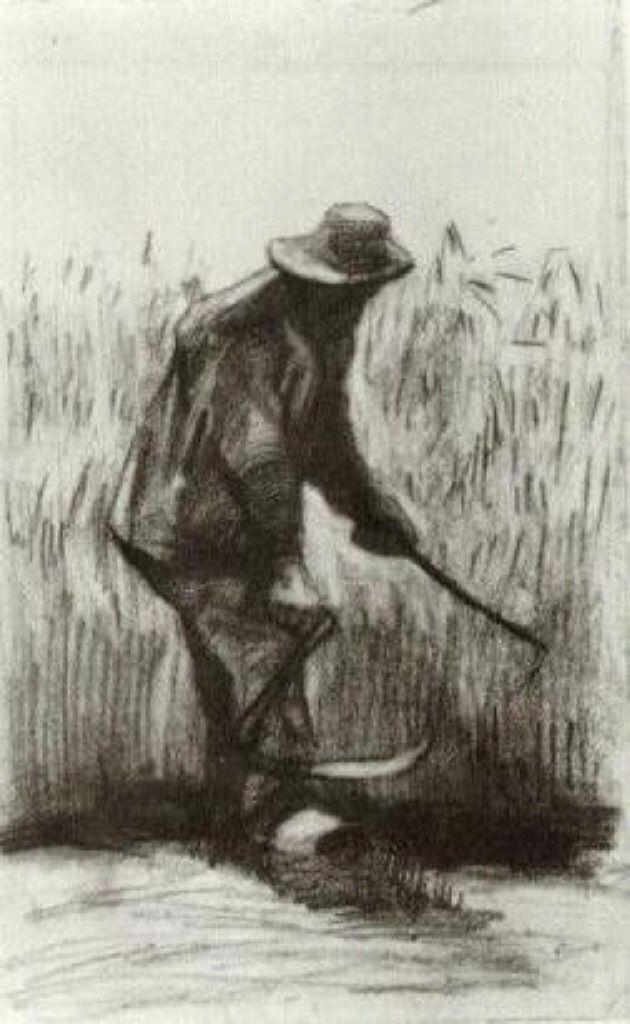 Vincent van Gogh - Peasant Woman Planting Painitng Canvas