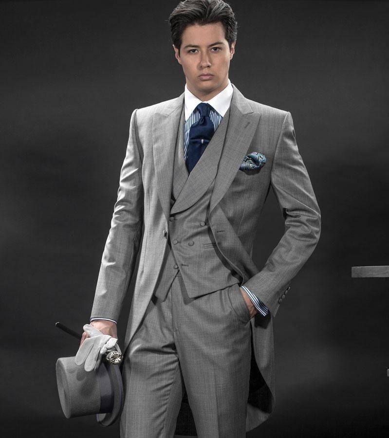 2018 New Arrival Morning Suits Slim Fit Groom Tuxedos Mens Suit Designer Blazers Wedding Jacket Pants Vest