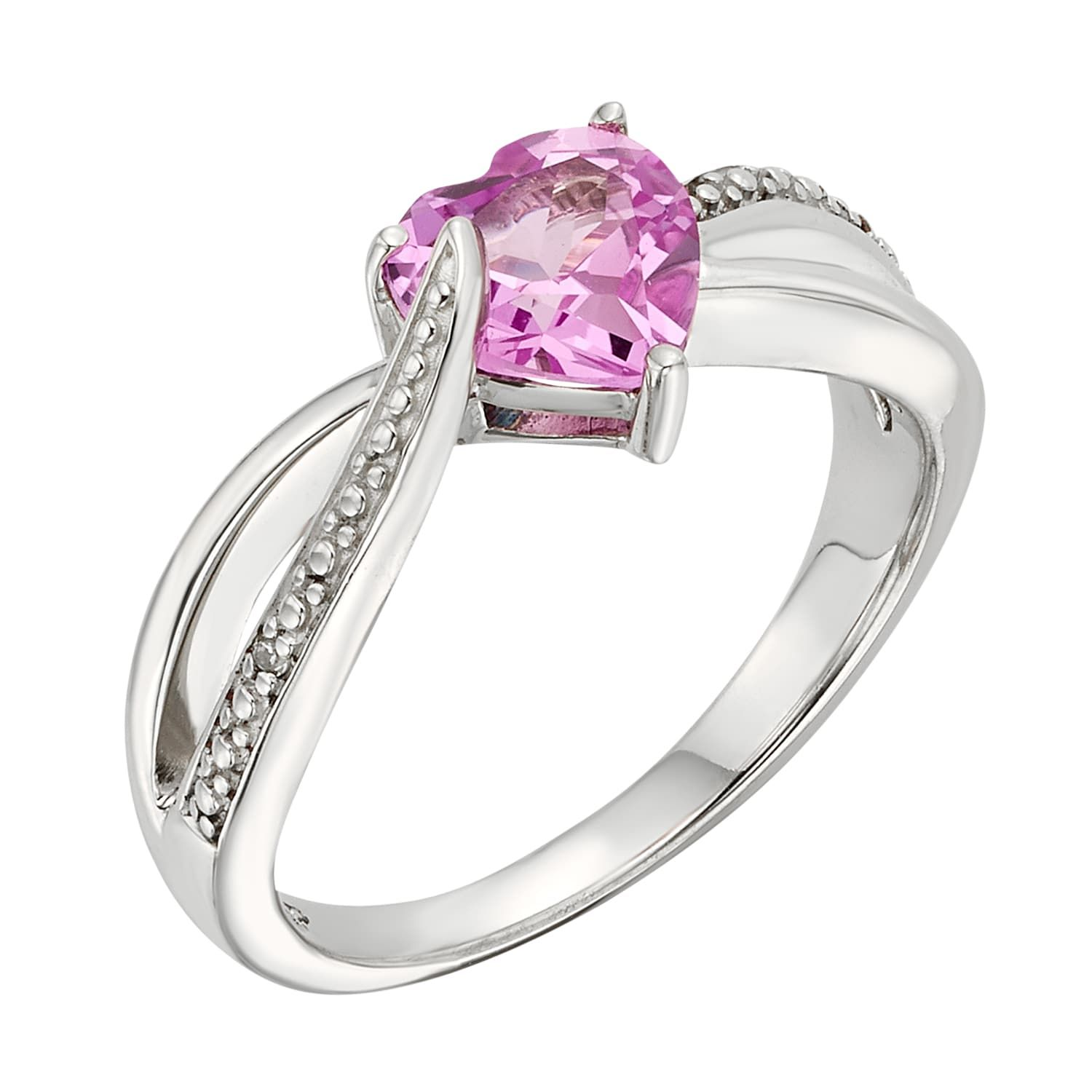 71fe6262a Lab-Created Pink Sapphire & Diamond Accent Sterling Silver Heart Bypass Ring  #Sapphire,
