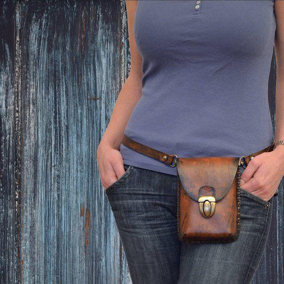Leather belt bag Cell phone holster bag Leather hip bag