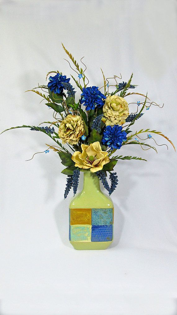 Blue And Beige Magnolias Peonies And Dahlias Silk Flower Arrangement In A  Blue And Beige Patchwork