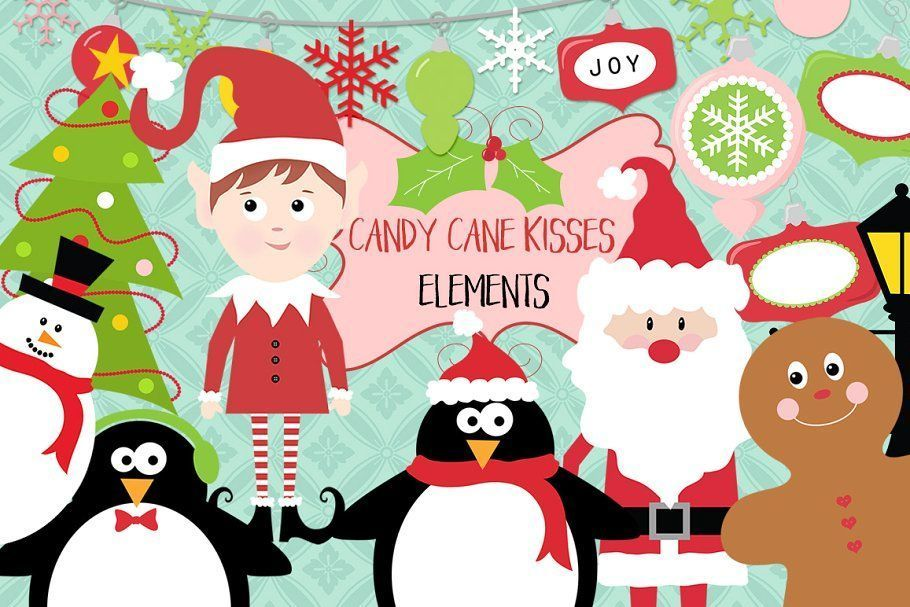 Candy Cane Kisses Christmas ClipArt  Candy Cane Kisses Christmas ClipArt