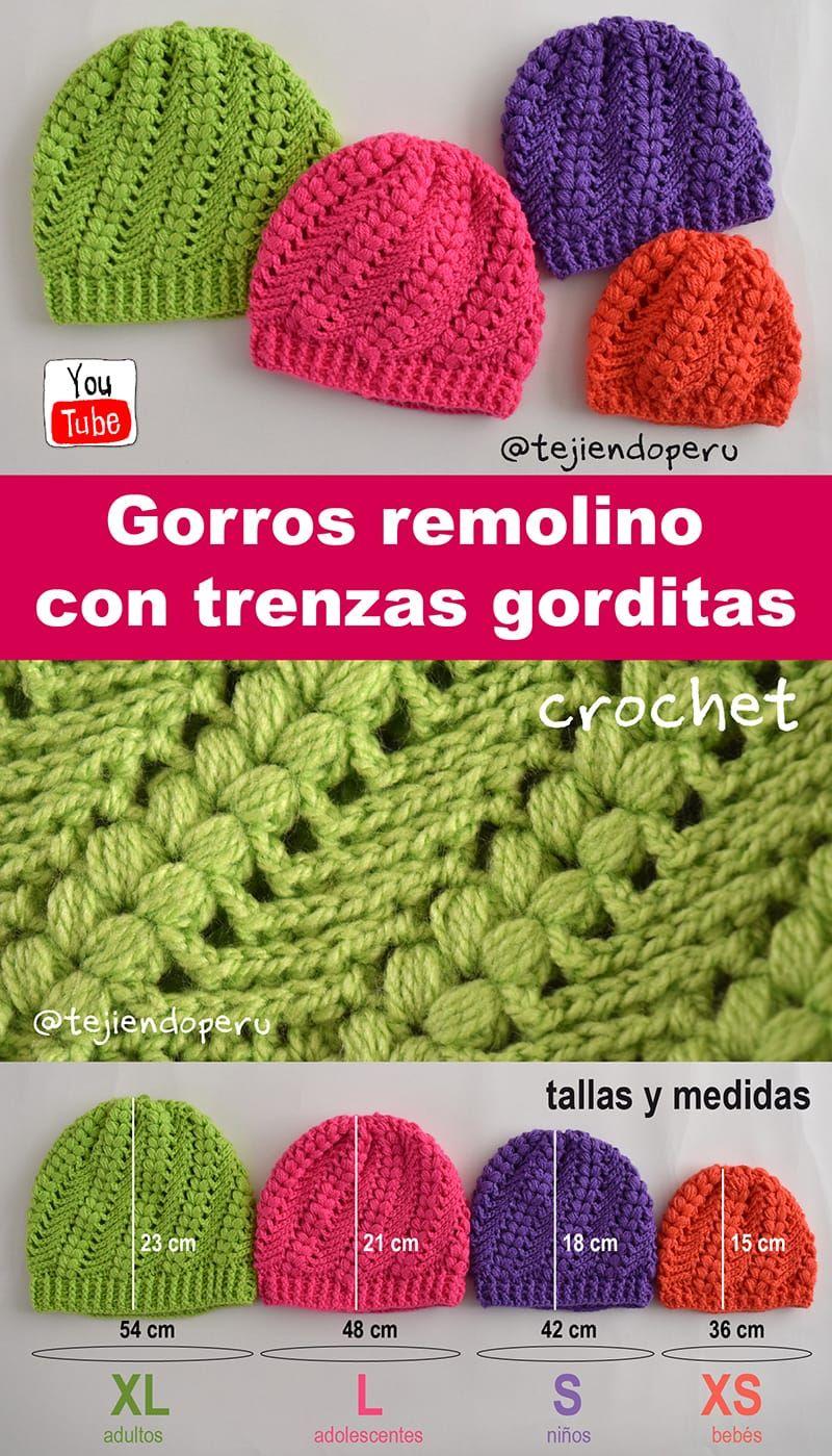 Crochet: gorro remolino con trenzas en 4 tallas. Vídeo tutorial del ...