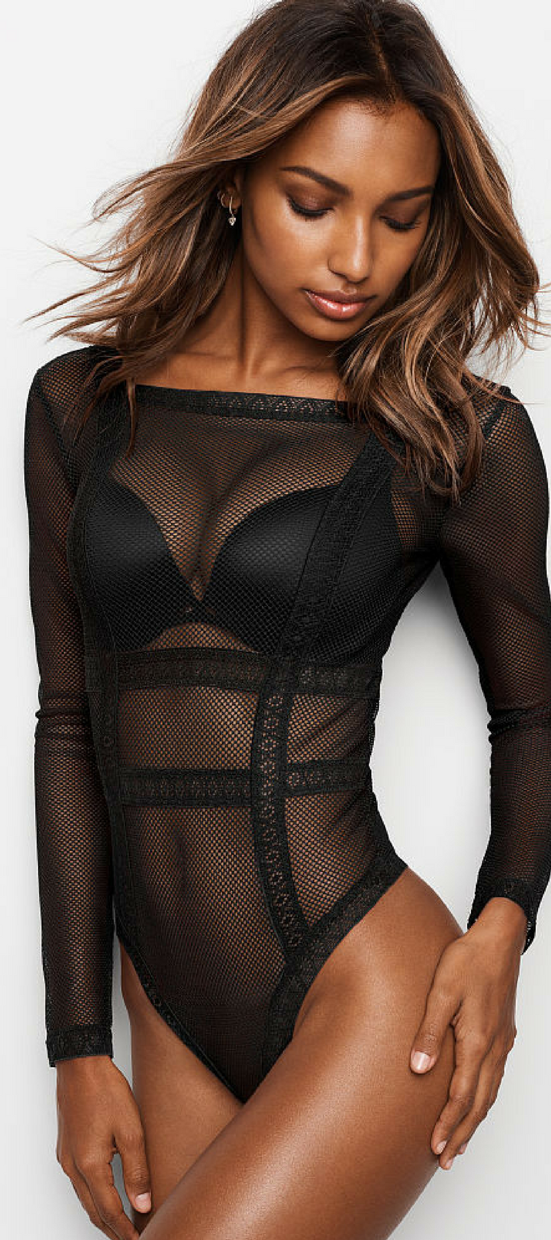 0cf00c10079 Very sexy Jasmine in Fishnet Lace Long Sleeve Bodysuit Victoria s Secret