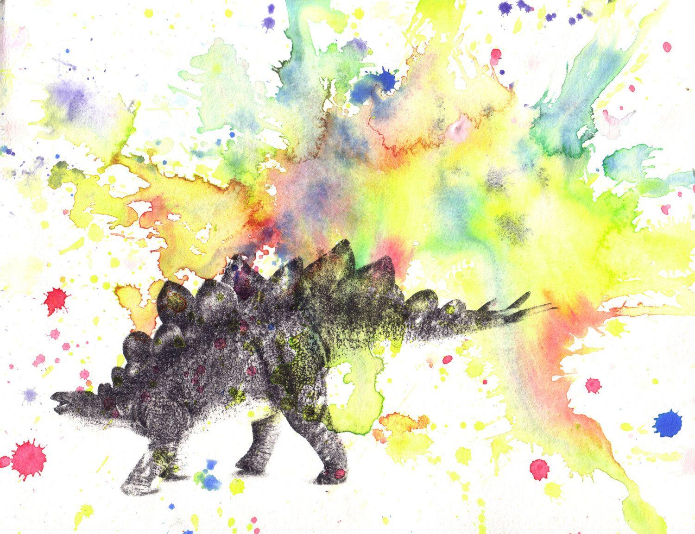 Stegosaurus Dinosaur Decor Animal Watercolor Painting Print Dinosaur ...