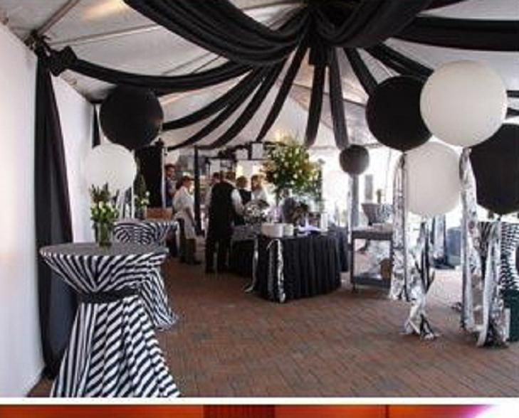 Fun receptions with fabric ceilings black and white