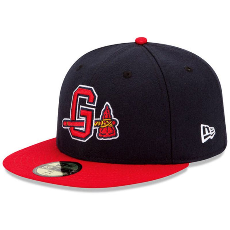 Gwinnett Braves New Era Authentic Home 59fifty Fitted Hat Navy Red Gorras