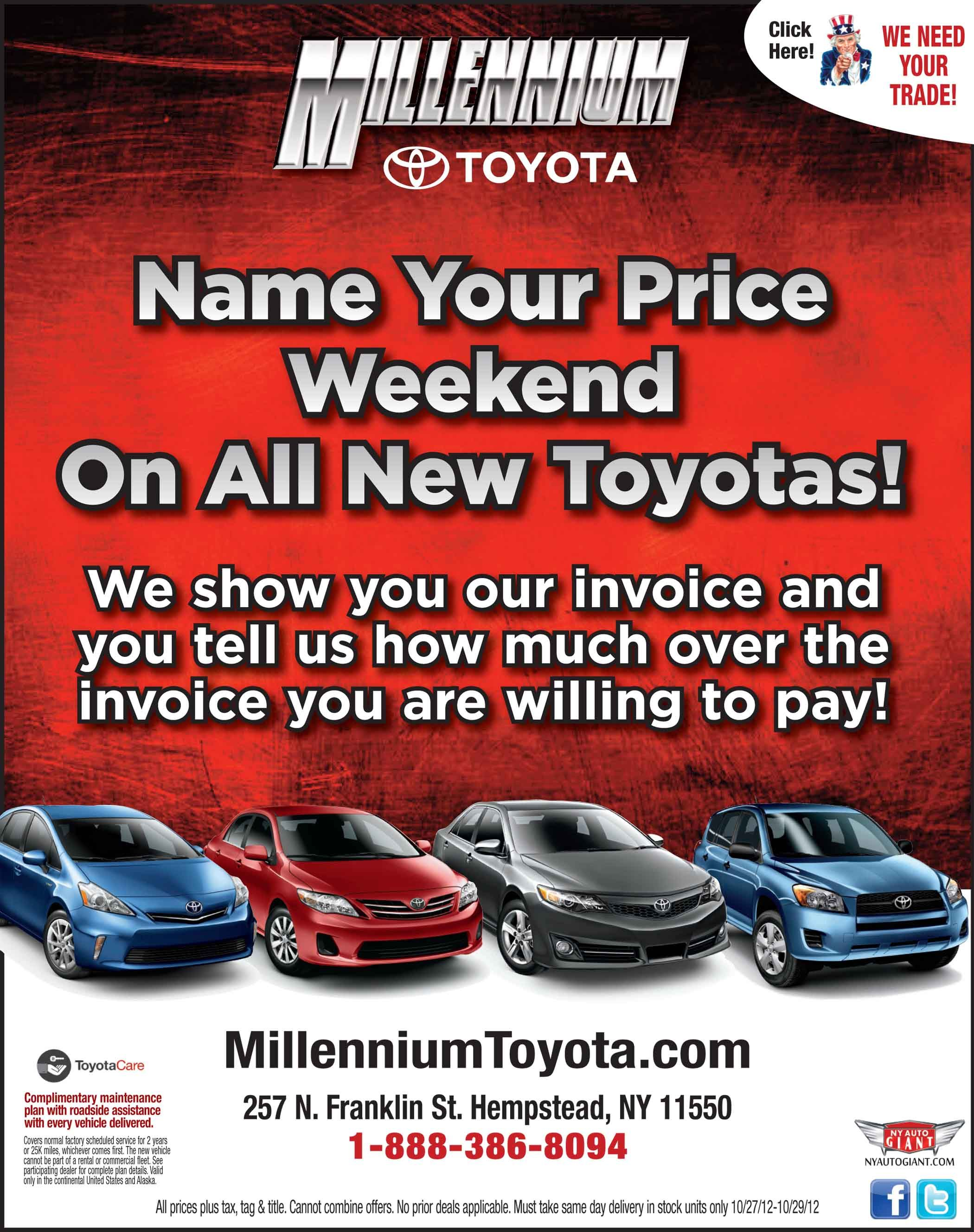Name Your Price 10 26 12 10 29 12 With Images Toyota Dealers