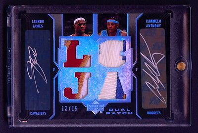 LEBRON JAMES CARMELO ANTHONY 2006-07 UD BLACK DUAL AUTOS GAME USED PATCH /15 NR  https://t.co/Wy6F0K7peZ https://t.co/Aw3mIVHFXF