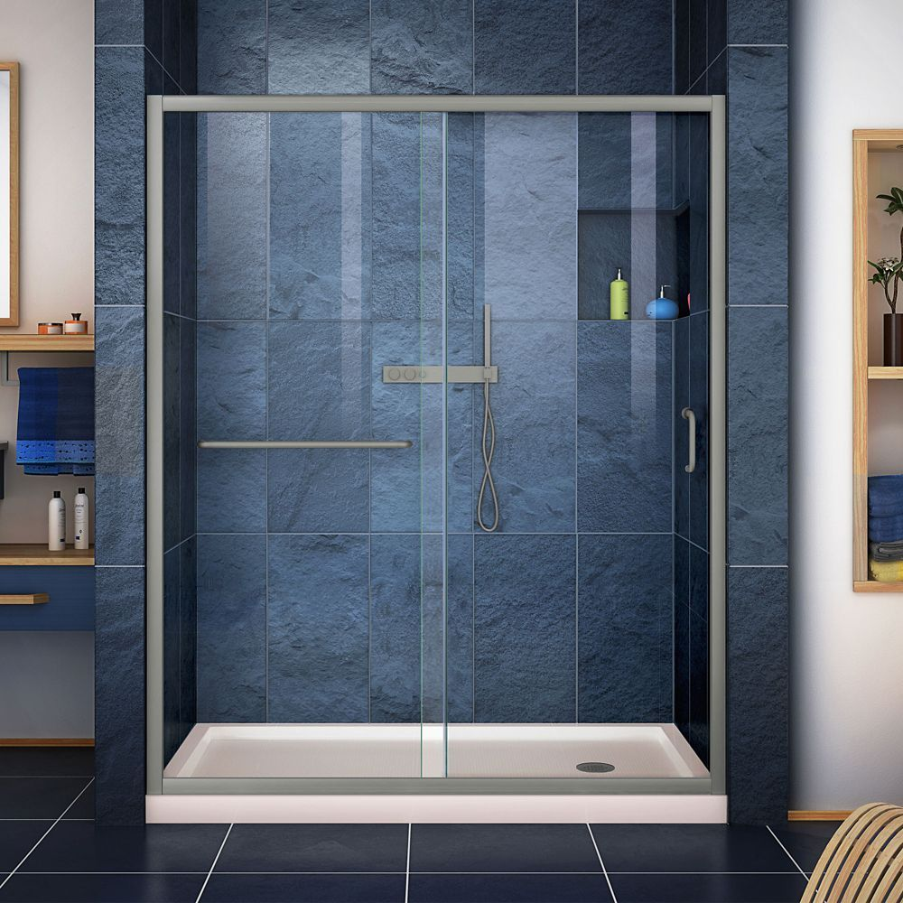 Infinity Z 36 Inch D X 60 Inch W Clear Shower Door In Brushed Nickel And Center Drain Biscuit Base Frameless Sliding Shower Doors Shower Doors Shower Base