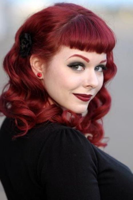 Curly pin up hair with bangs  CUTE PIN UP HAIRSTYLES