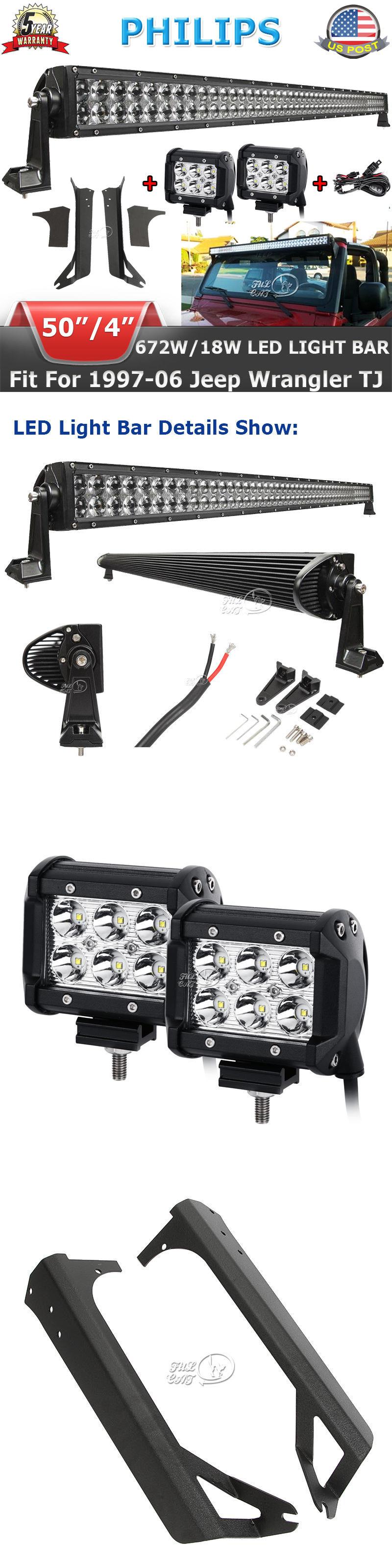 Car Lighting 50inch 18w Led Light Bar Wiring Kit Mount Bracket Fit Jeep Jk