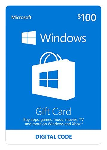 Microsoft Windows Store Gift Card 100 Value Online Code Click