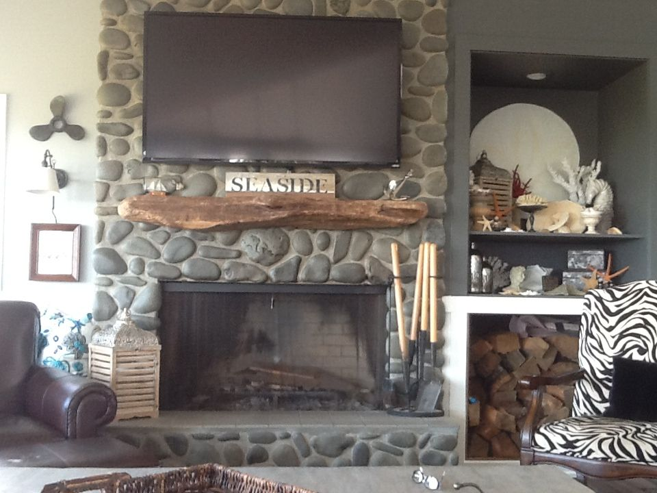 New Fireplace Wall With Driftwood Mantle Ans Wood Storage Made By Me Pinterest Fireplace