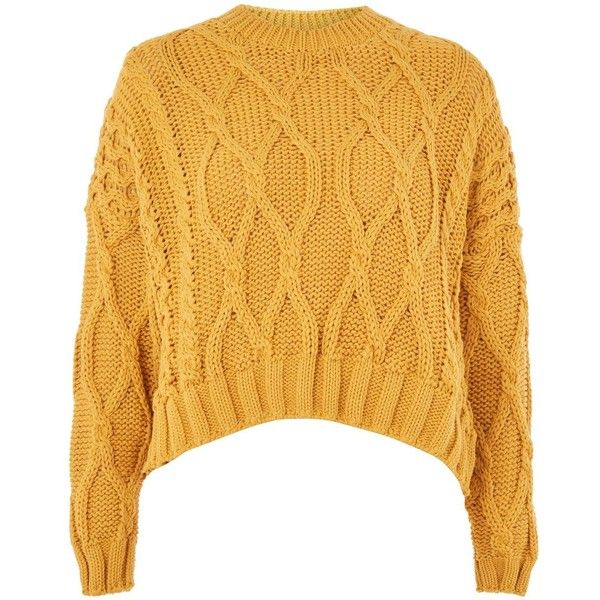 Knitted Crop Top In Golden Mustard Color Women Knitted Short Sweater With Cables